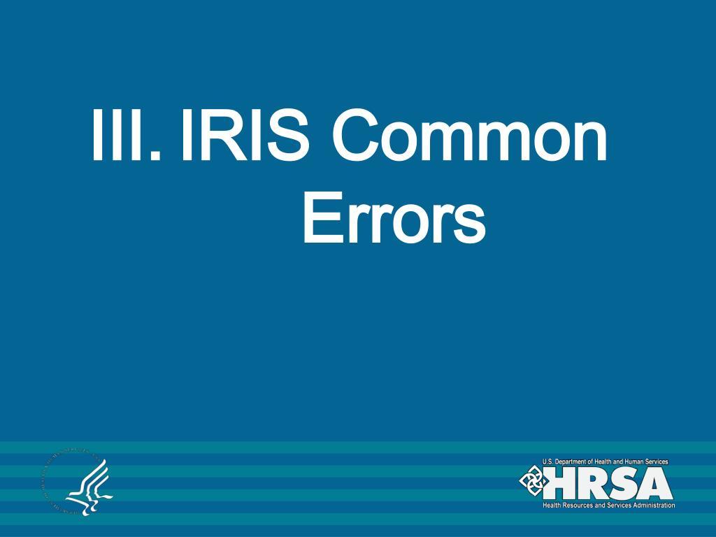 IRIS Common Errors