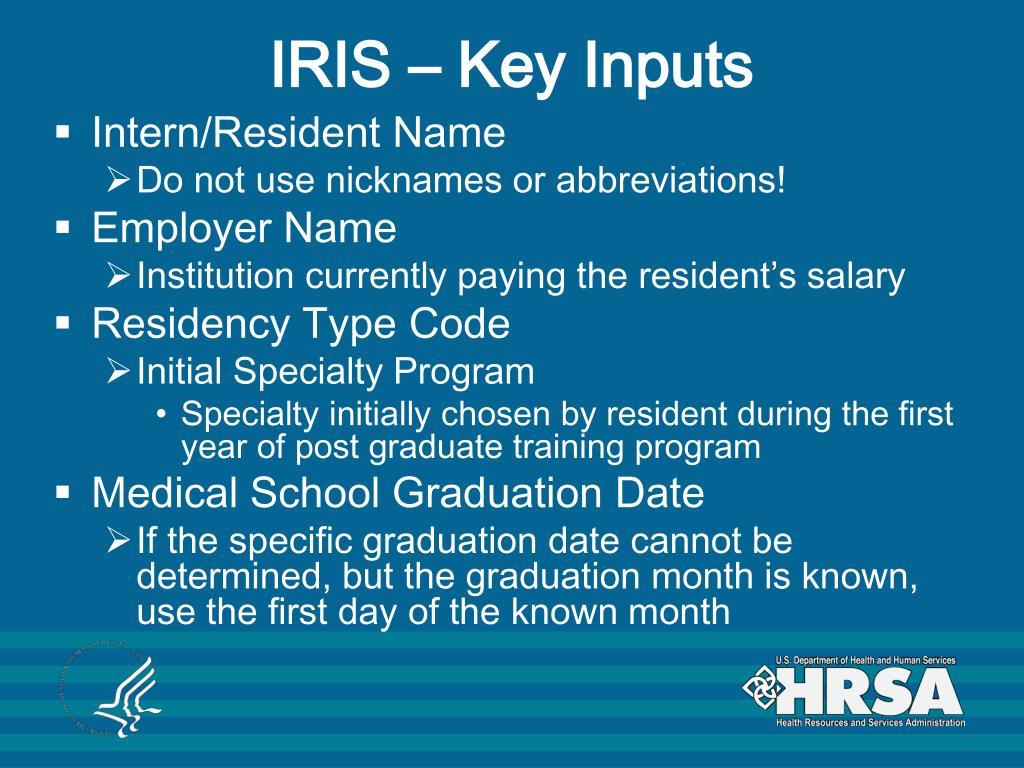 IRIS – Key Inputs