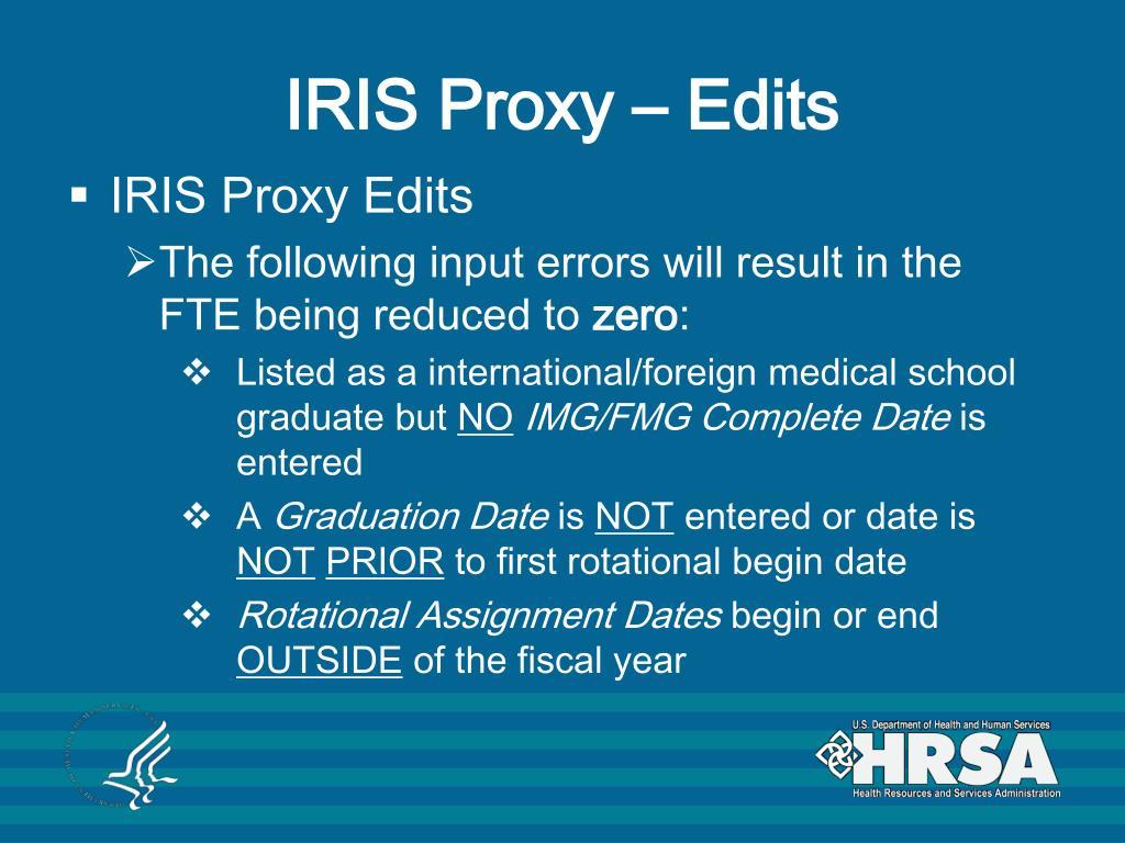 IRIS Proxy – Edits