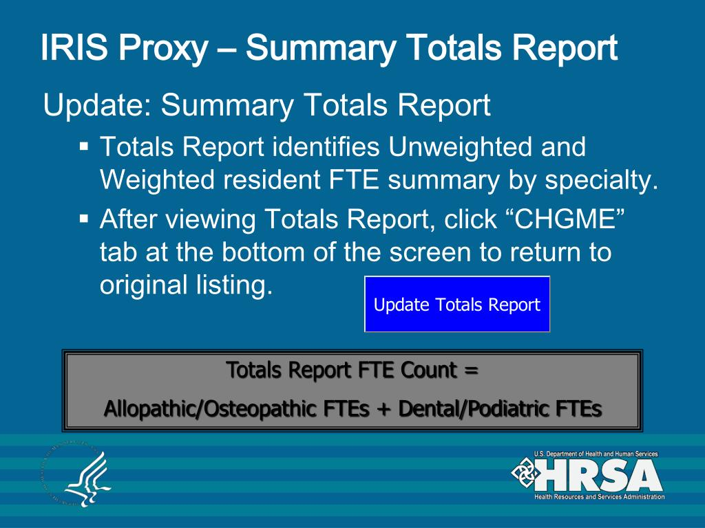 IRIS Proxy – Summary Totals Report