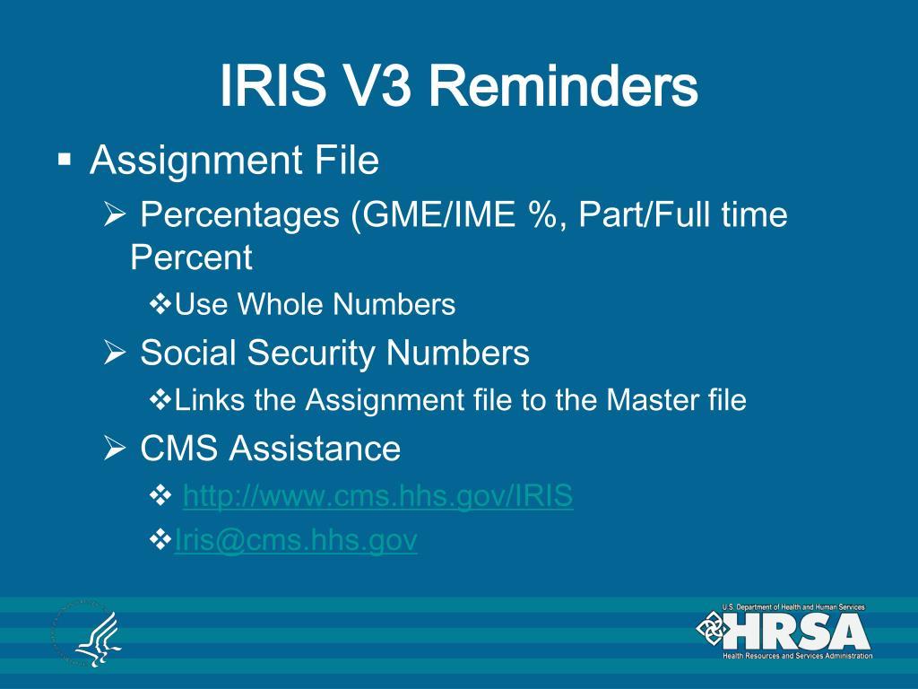 IRIS V3 Reminders