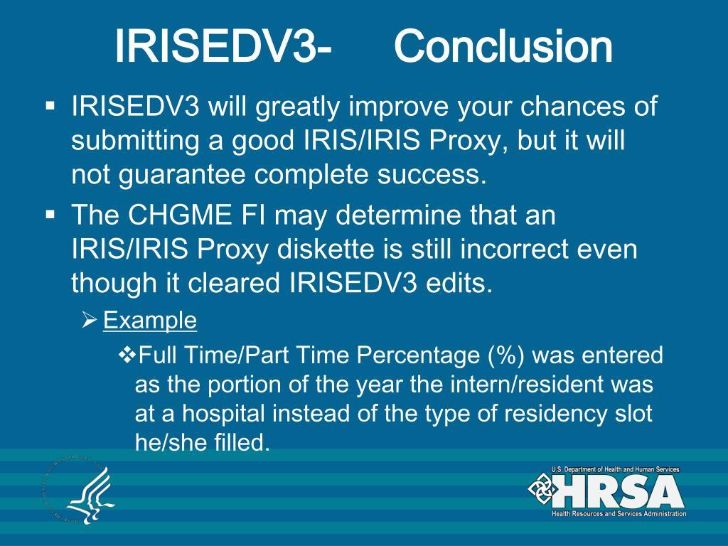IRISEDV3-     Conclusion