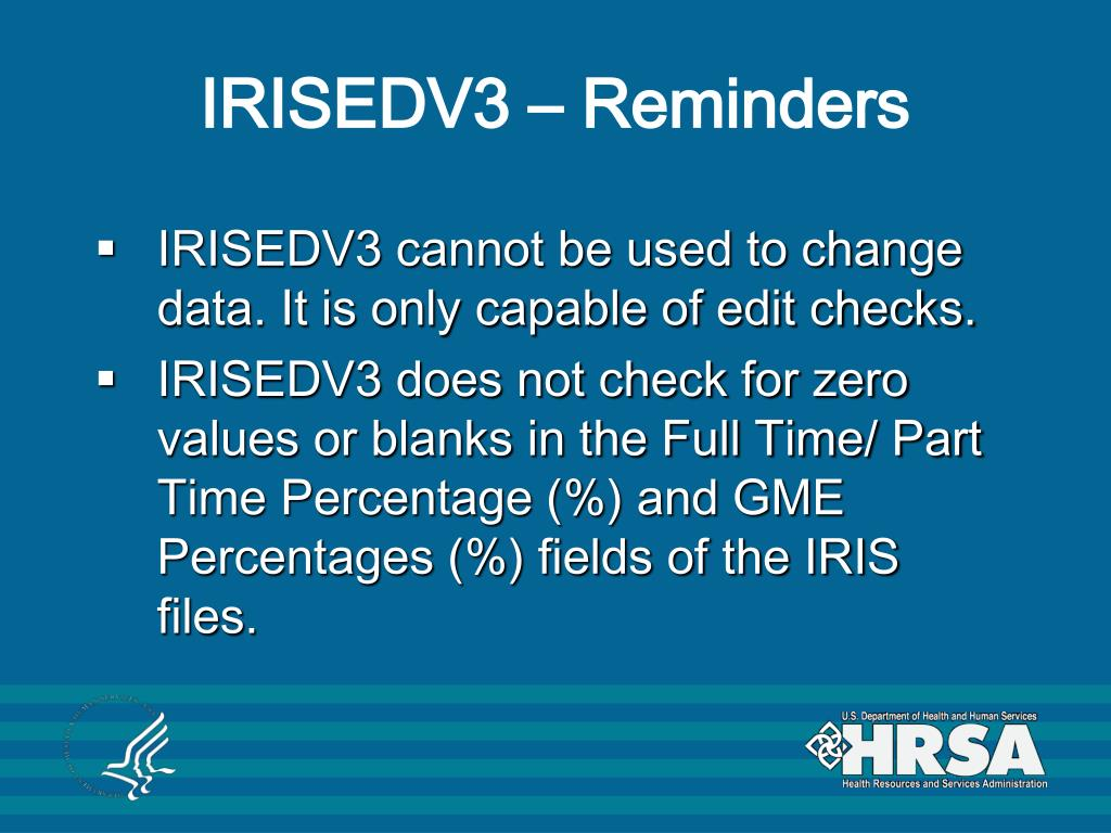 IRISEDV3 – Reminders