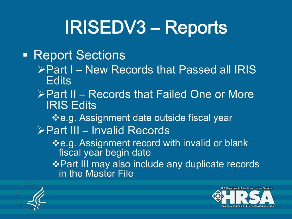 IRISEDV3 – Reports