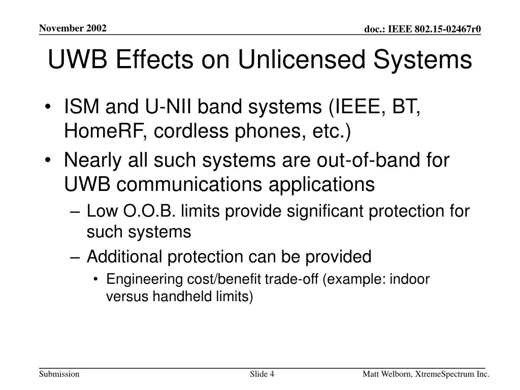 UWB Effects on Unlicensed Systems
