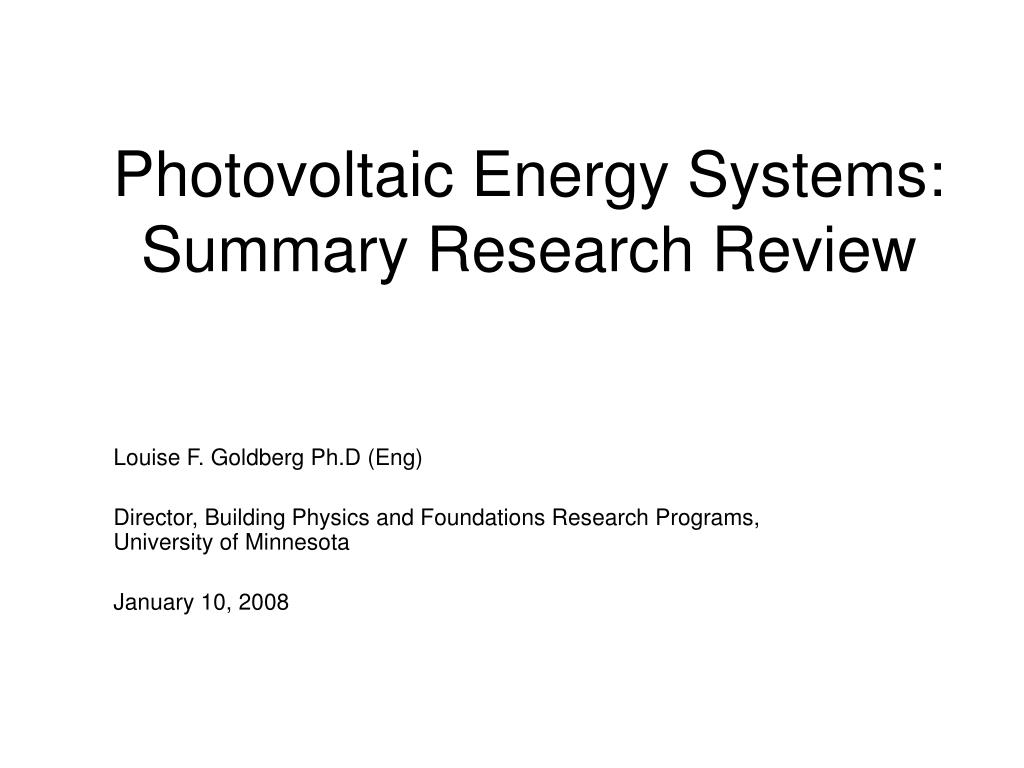 photovoltaic energy systems summary research review l.
