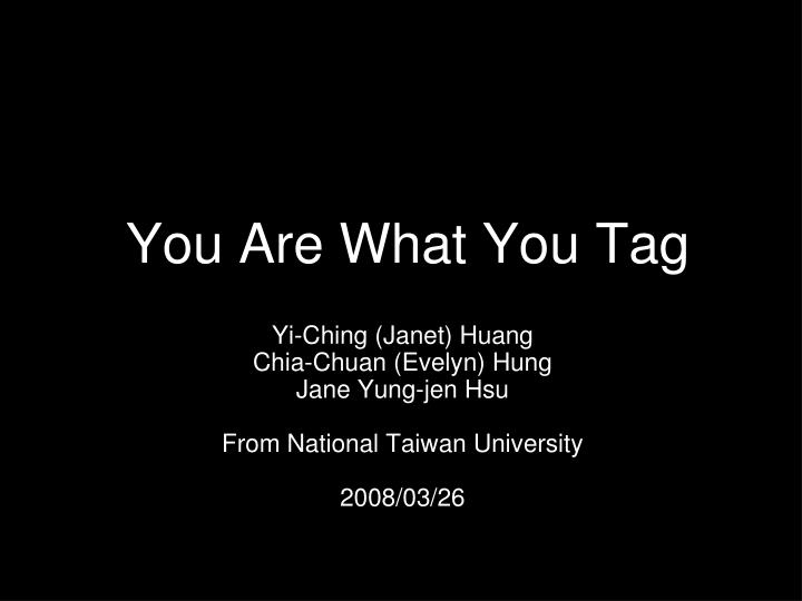 You are what you tag