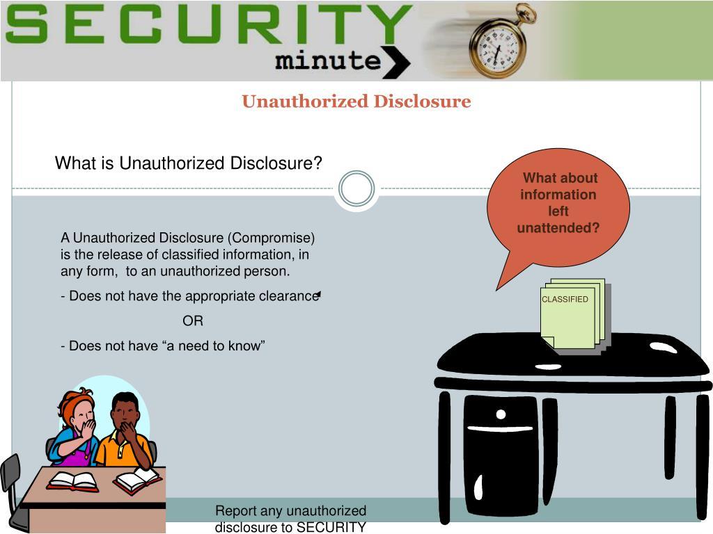 unauthorized disclosure l.