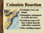 colonists reaction