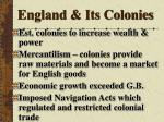 england its colonies