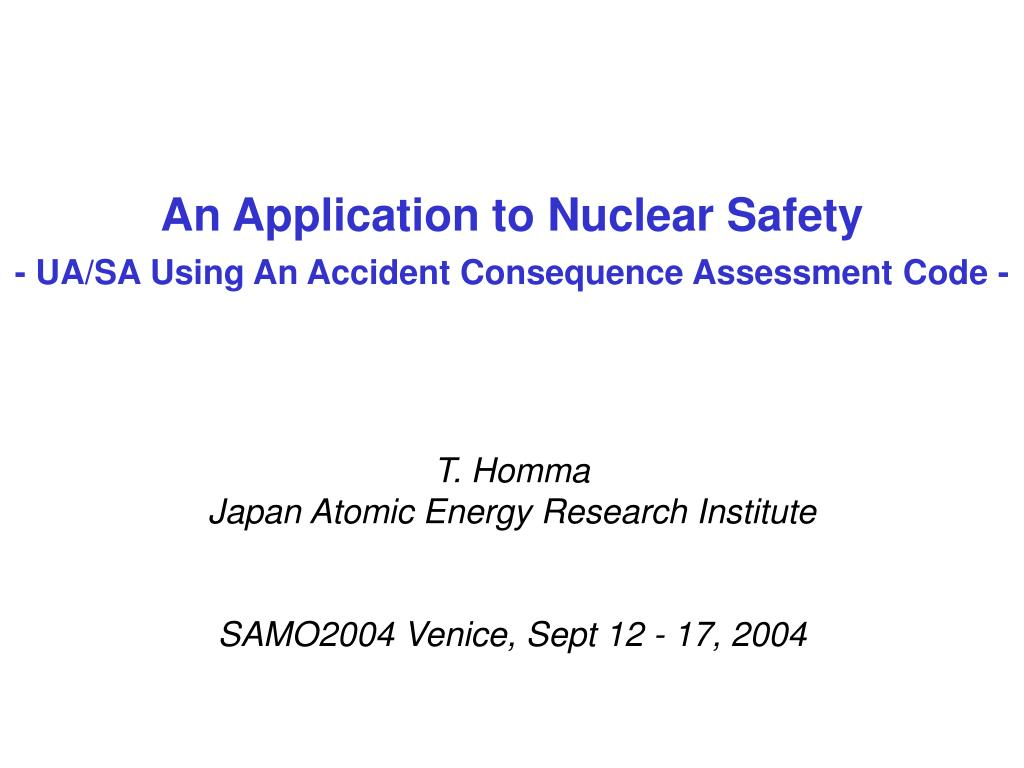 an application to nuclear safety ua sa using an accident consequence assessment code l.