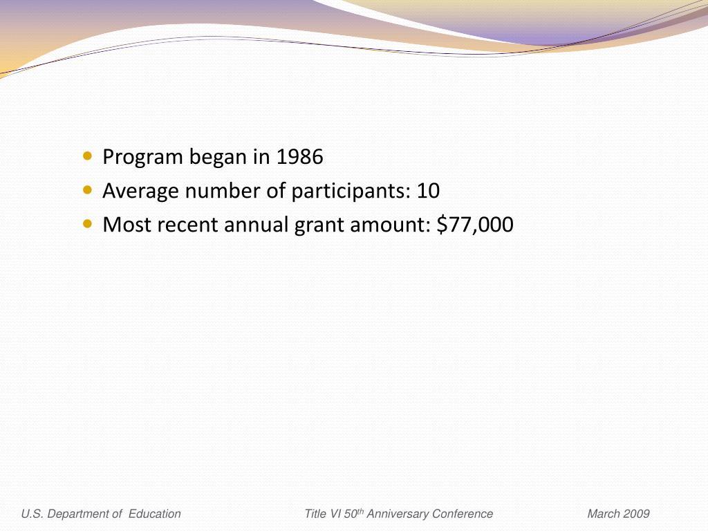 Program began in 1986