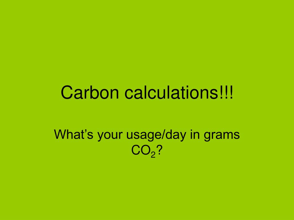 carbon calculations l.