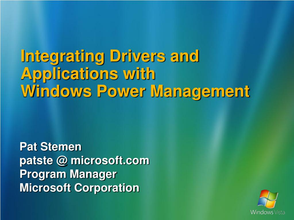 integrating drivers and applications with windows power management l.