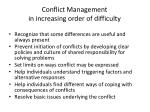 conflict management in increasing order of difficulty