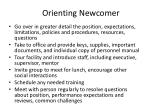 orienting newcomer
