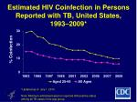 estimated hiv coinfection in persons reported with tb united states 1993 2009
