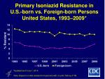primary isoniazid resistance in u s born vs foreign born persons united states 1993 2009