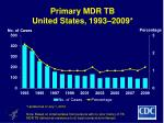primary mdr tb united states 1993 2009