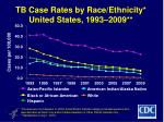 tb case rates by race ethnicity united states 1993 2009