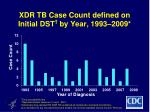 xdr tb case count defined on initial dst by year 1993 2009