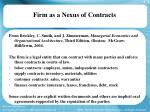 firm as a nexus of contracts