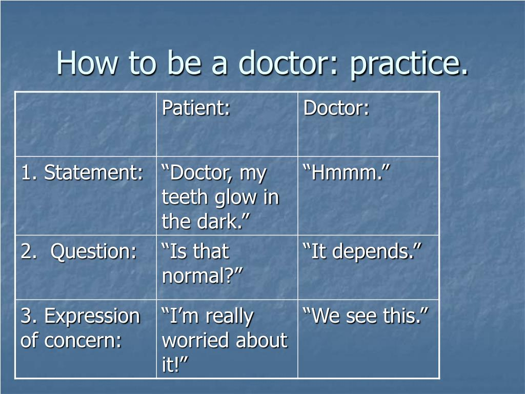 How to be a doctor: practice.