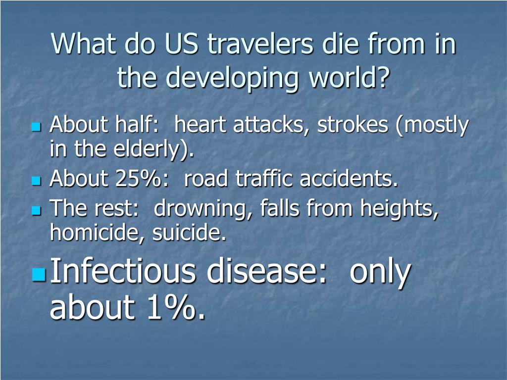 What do US travelers die from in the developing world?