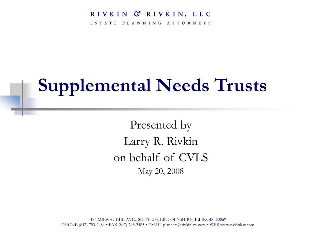 supplemental needs trusts l.