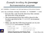 example invoking the jcoverage instrumentation program