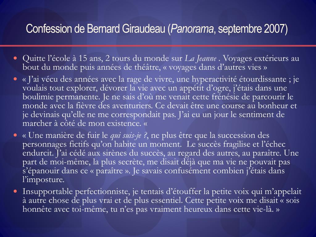 Confession de Bernard Giraudeau (