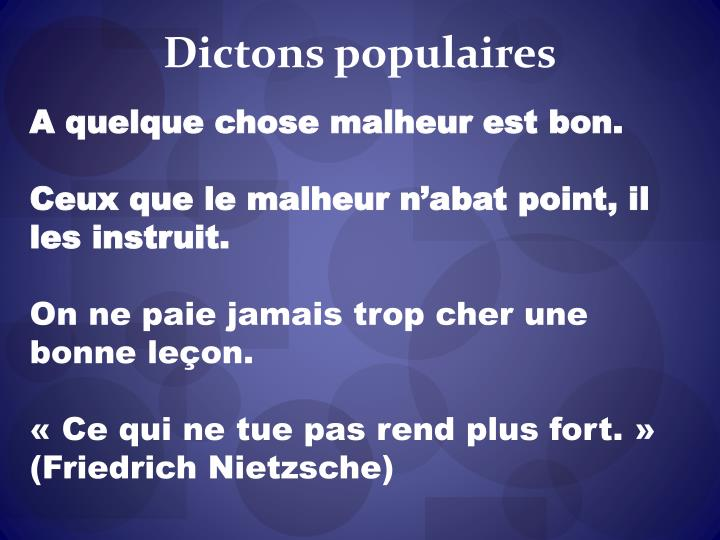 Dictons populaires