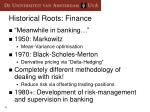 historical roots finance