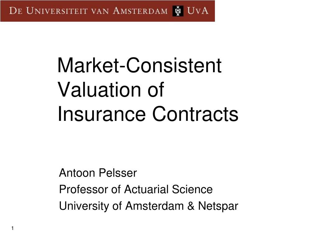 market consistent valuation of insurance contracts l.