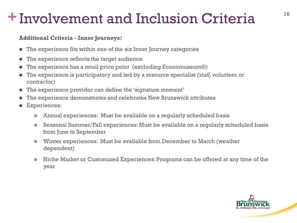 Involvement and Inclusion Criteria