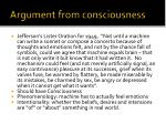 argument from consciousness
