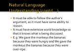 natural language understanding contd