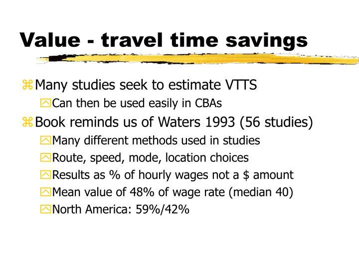 Value travel time savings