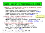 data rate of no compressed video