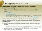 re applying for a u s visa