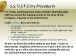 u s visit entry procedures