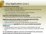 visa application cont
