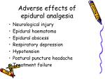 adverse effects of epidural analgesia