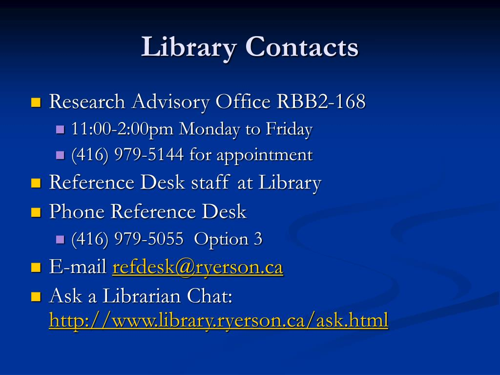 Library Contacts