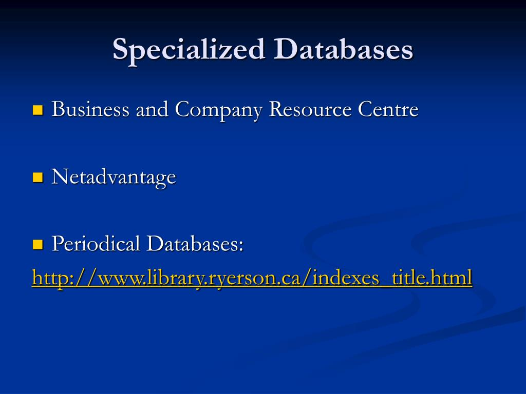 Specialized Databases