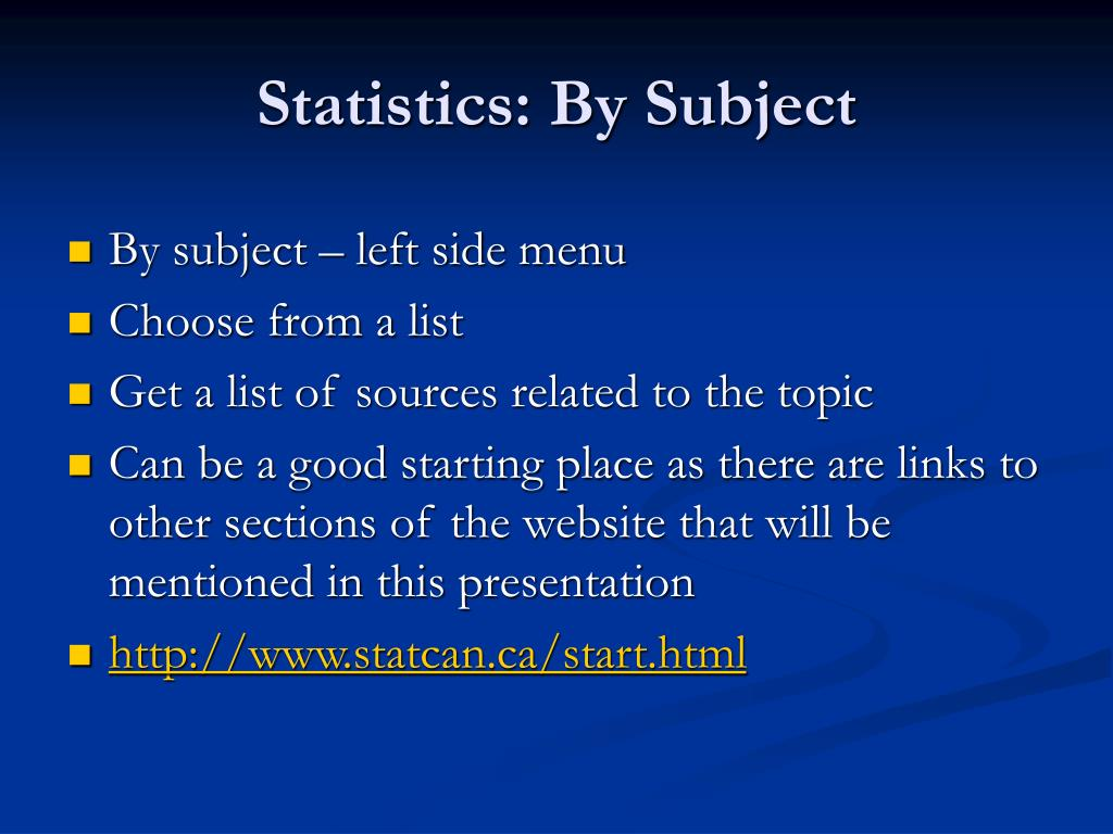 Statistics: By Subject