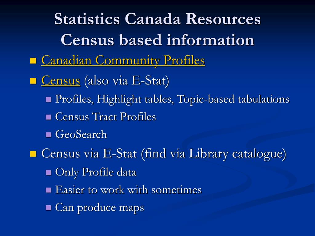 Statistics Canada Resources