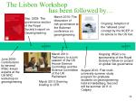 the lisbon workshop has been followed by