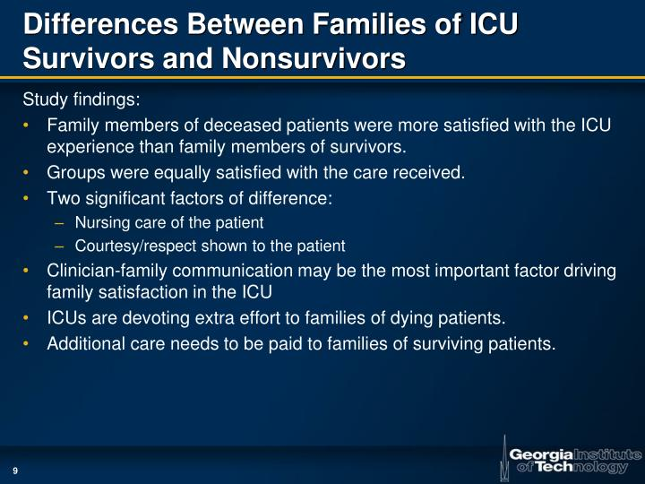 icu family needs Intensive care unit icu visiting hours are flexible and sometimes change to best meet the patient's needs we ask that family members not visit or call.