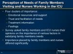 perception of needs of family members visiting and nurses working in the icu